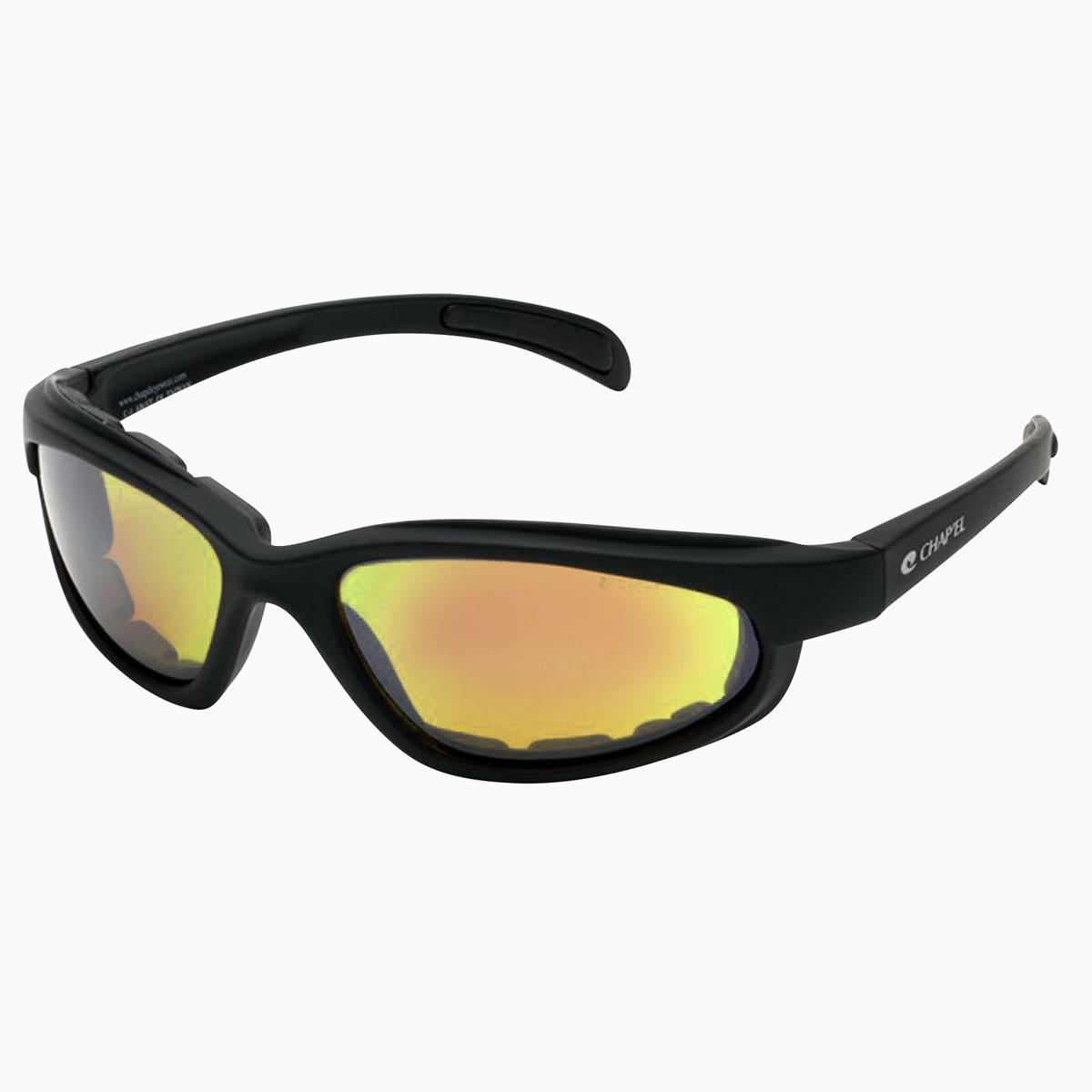 Chap'el C-1 Black Frame/Red RV Lens Padded Sunglasses