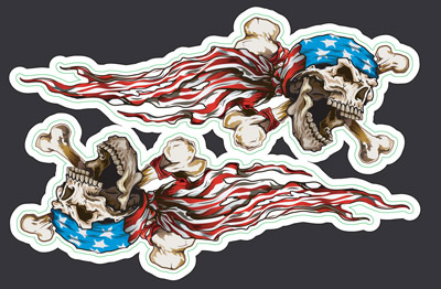 Lethal Threat USA Skull Mini Decals