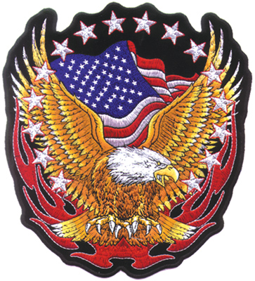 GoodSports Eagle, Flag & Flames Embroidered Patch