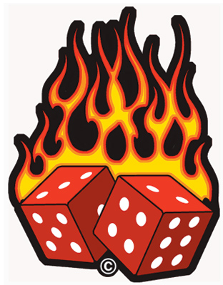 GoodSports Flaming Dice Embroidered Patch