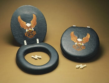J&P Cycles® Embroidered Harley Eagle Toilet Seat