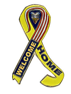 Gunz Support Our Troops & Welcome Home Ribbon Pin