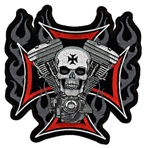 Cross Motor & Skull Embroidered Patch