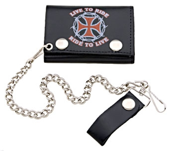Hot Leathers Live to Ride Tri-Fold Leather Wallet