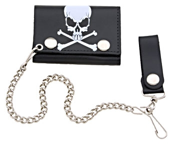 Hot Leathers Skull with Bones Tri-Fold Leather Wallet