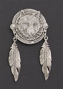 Wolf Dream Catcher Hand Carved Pewter Pin