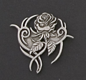 Hot Leathers Tribal Rose Hand Carved Pewter Pin