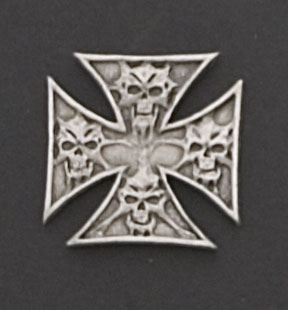 Hot Leathers Maltese Cross with Skulls Hand Carved Pewter Pin