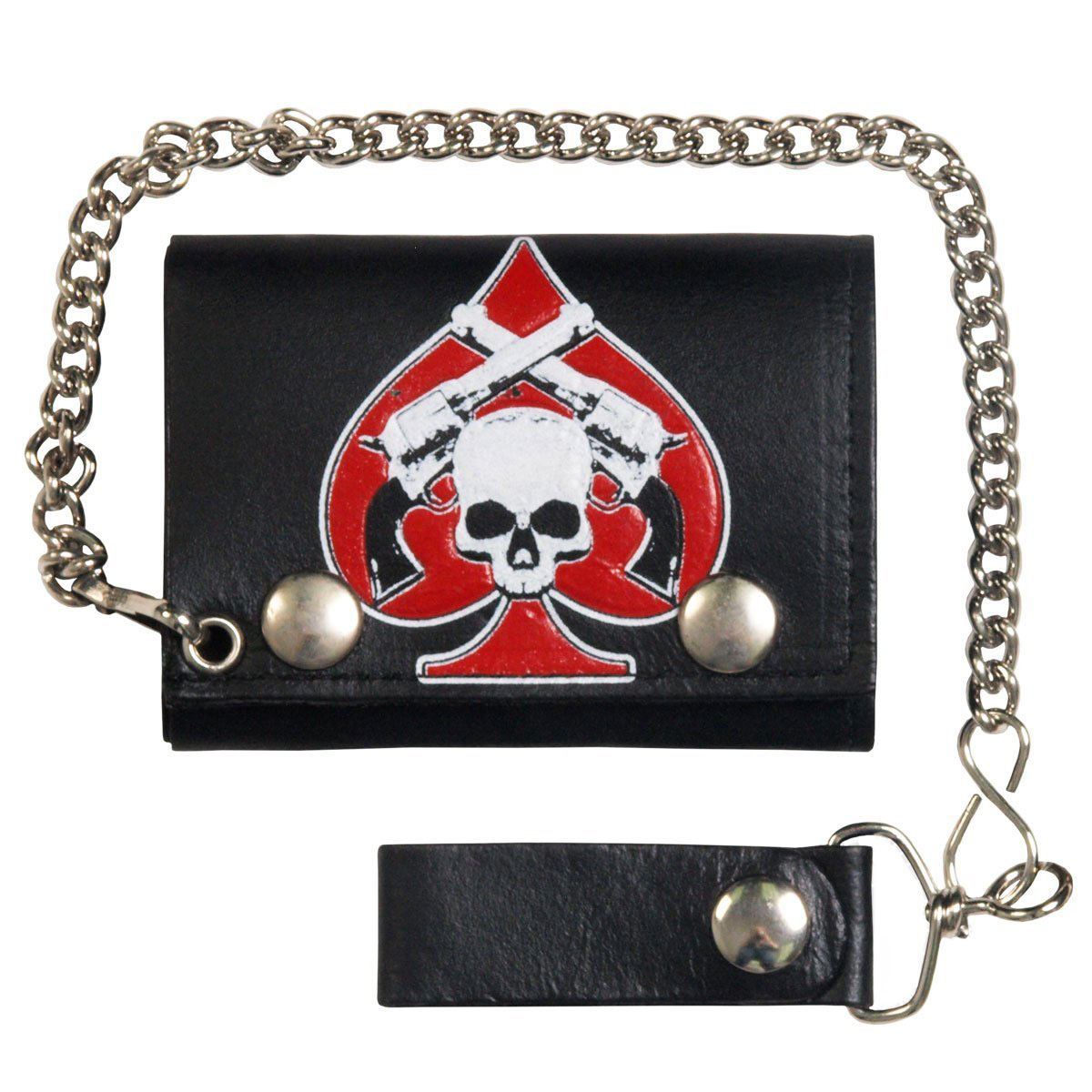 Hot Leathers Skull with Pistols Tri-Fold Leather Wallet
