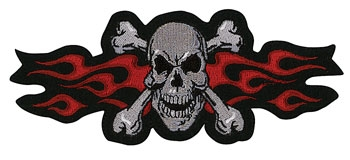 Lethal Threat Red Flame Skull Embroidered Patch