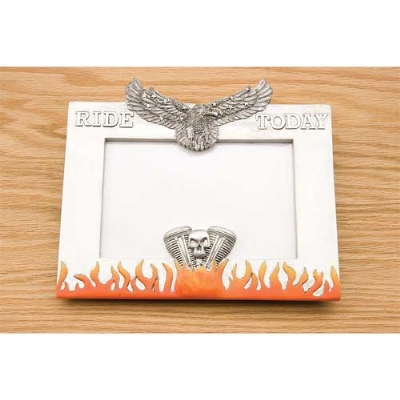 JBN Custom Ride Today Picture Frame with Eagle and Flames