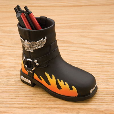 JBN Custom Boot Pencil Holder with Flames and Skulls