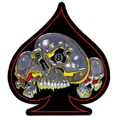 Lethal Threat Three Ace Skull Embroidered Patch
