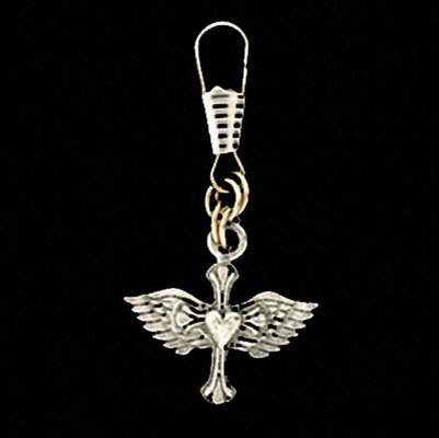 Heart Cross and Wings Zipper Pull