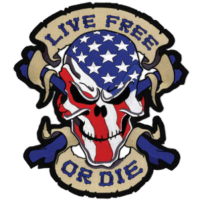 Lethal Threat Live Free Skull Embroidered Patch