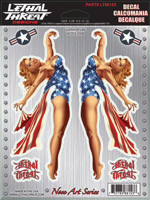 Lethal Threat Nose Art USA Pin-up Girl Decal