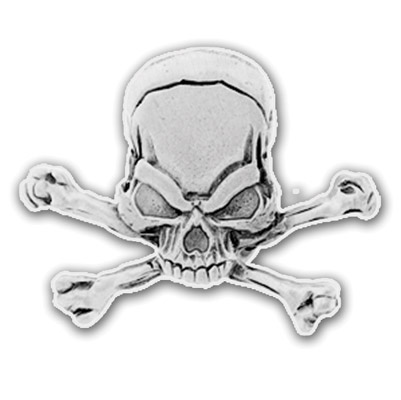 Hot Leathers Pewter Skull & Crossbones Pin