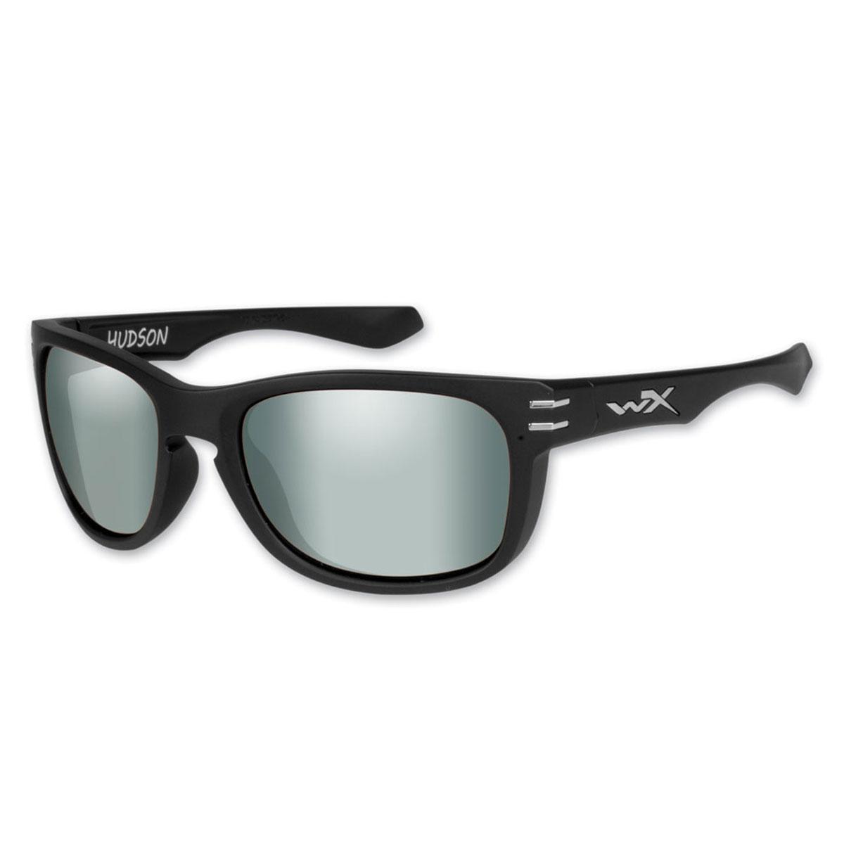 Wiley X Hudson Matte Black Sunglasses with Polorized Platinum Flash Lens
