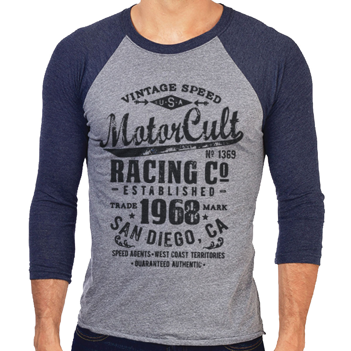 MotorCult Men's Vintage Gray/Navy Baseball Tee