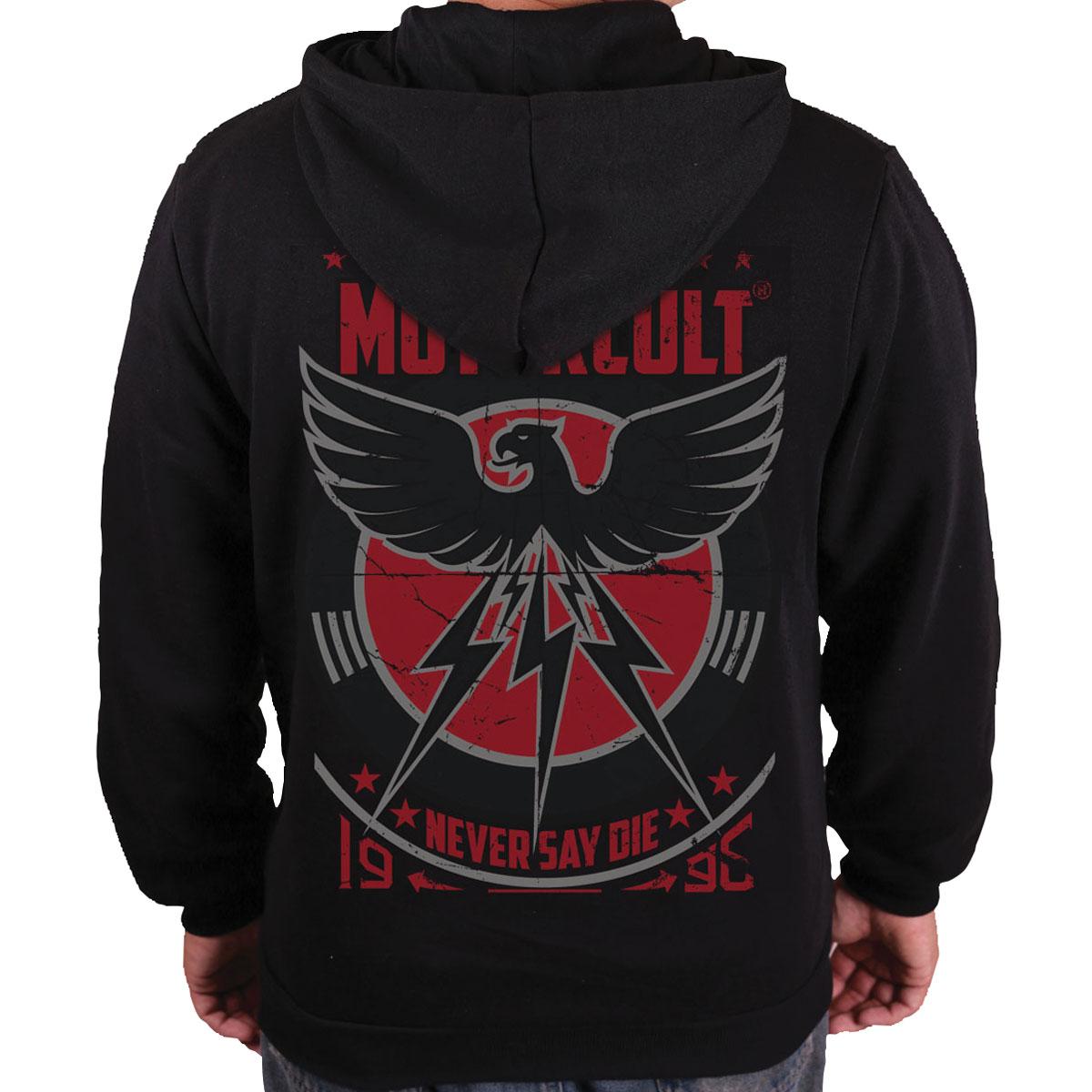 MotorCult Men's Never Say Die Black Full Zip Hoodie