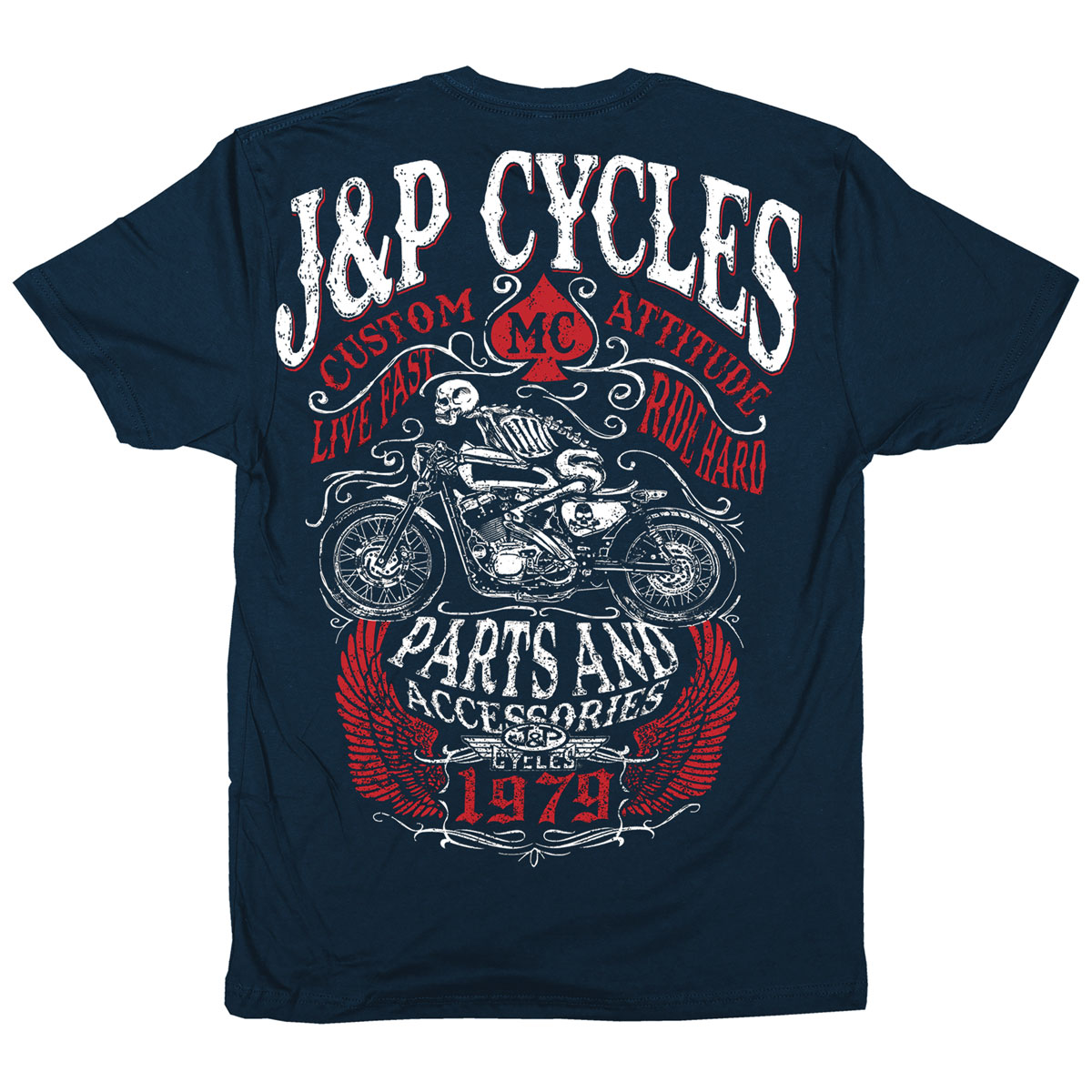 J&P Cycles Men's Death Rider Navy T-Shirt