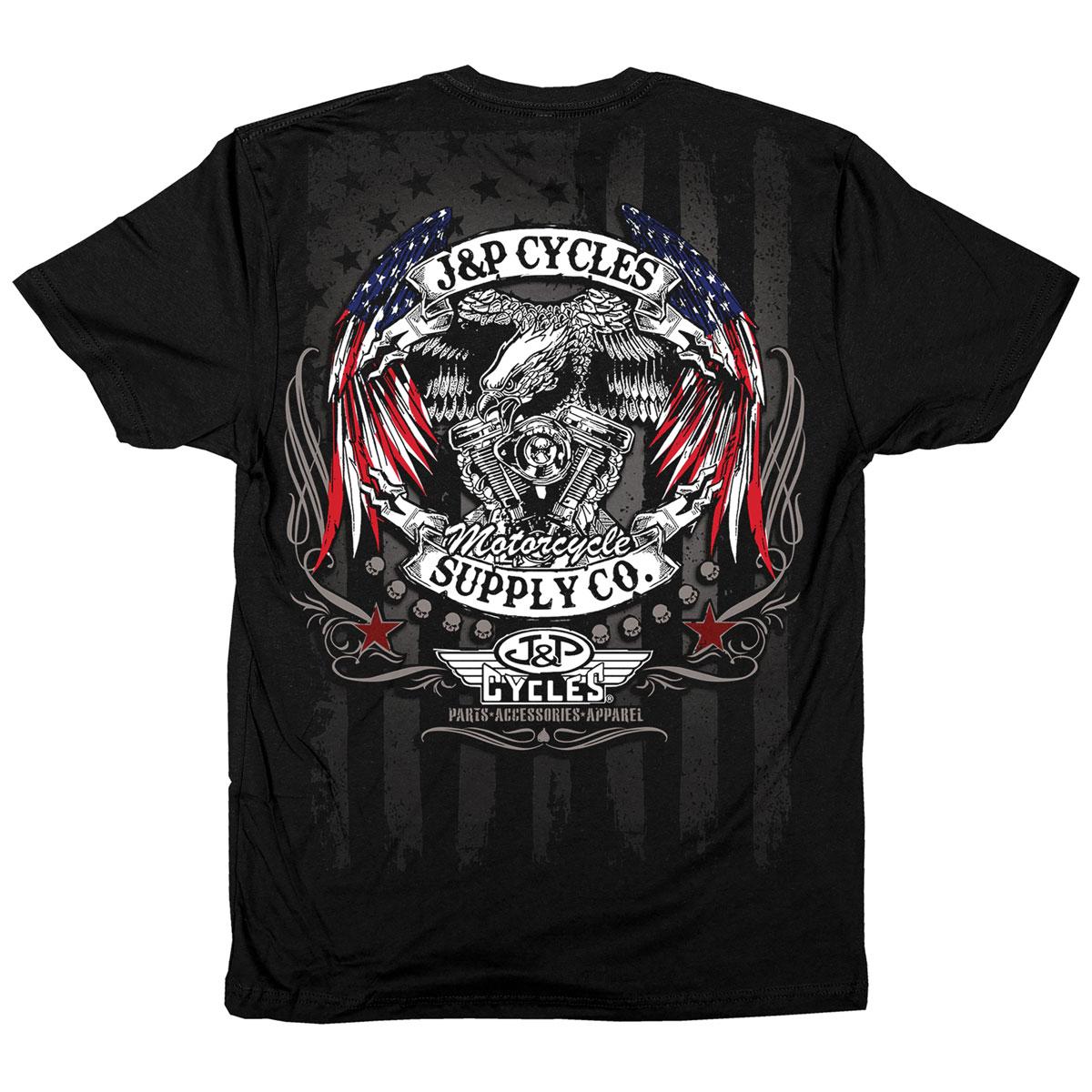 J&P Cycles Men's Eagle Flag Wings Black T-Shirt
