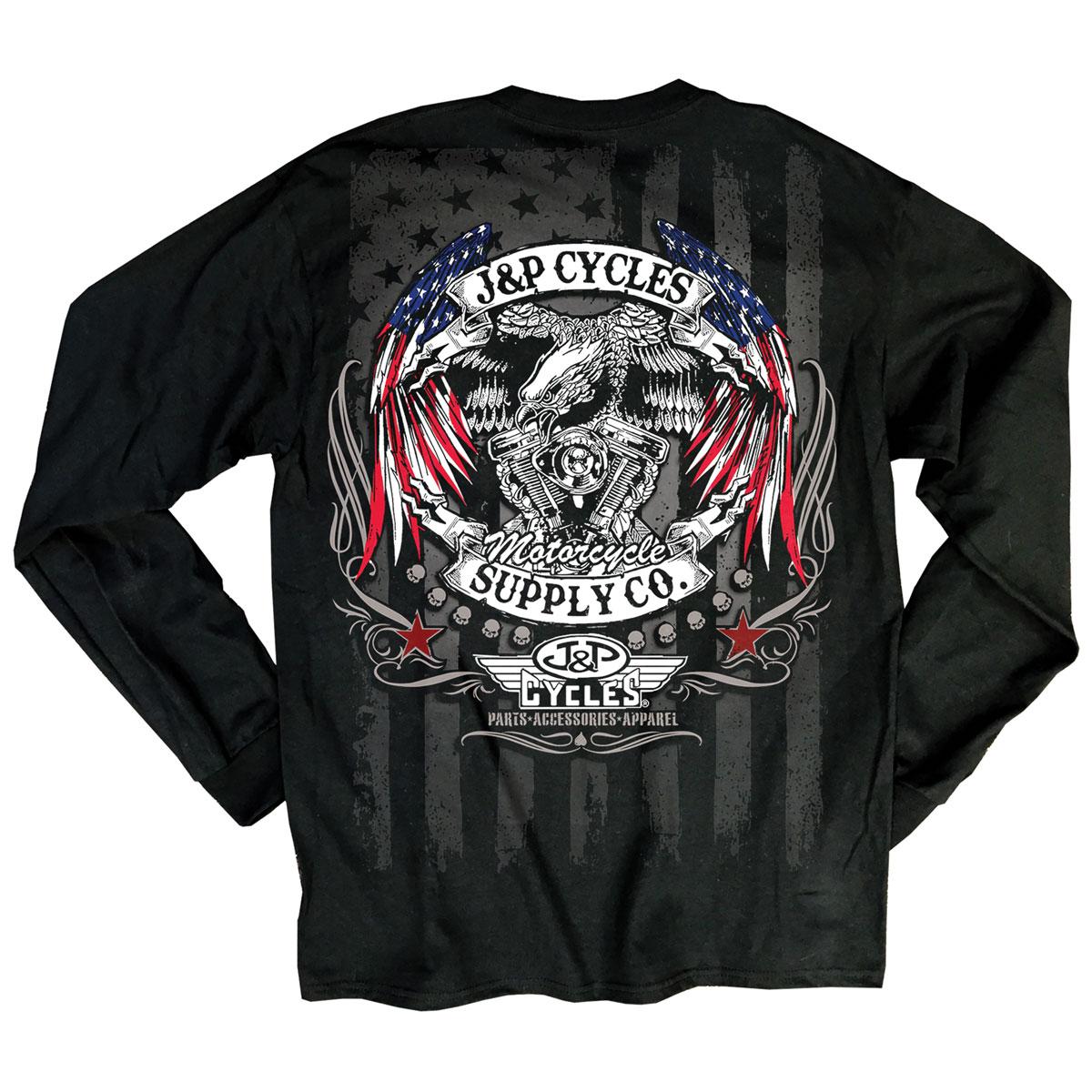 J&P Cycles Men's Eagle Flag Wings Black Long-Sleeve T-Shirt