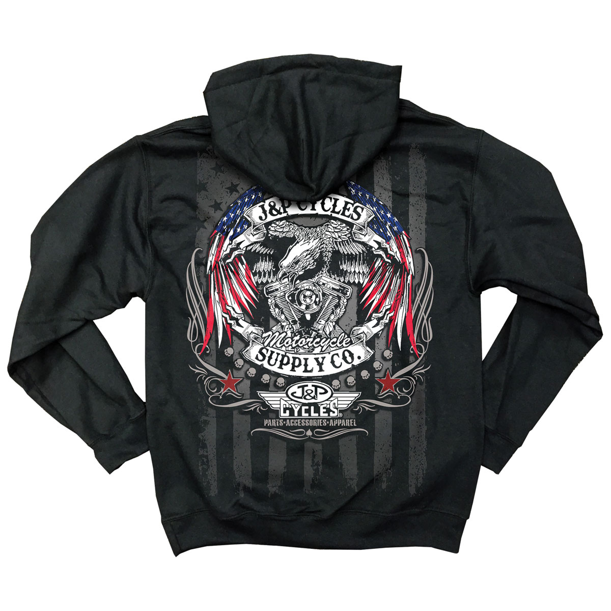 J&P Cycles Men's Eagle Flag Wings Black Hoodie