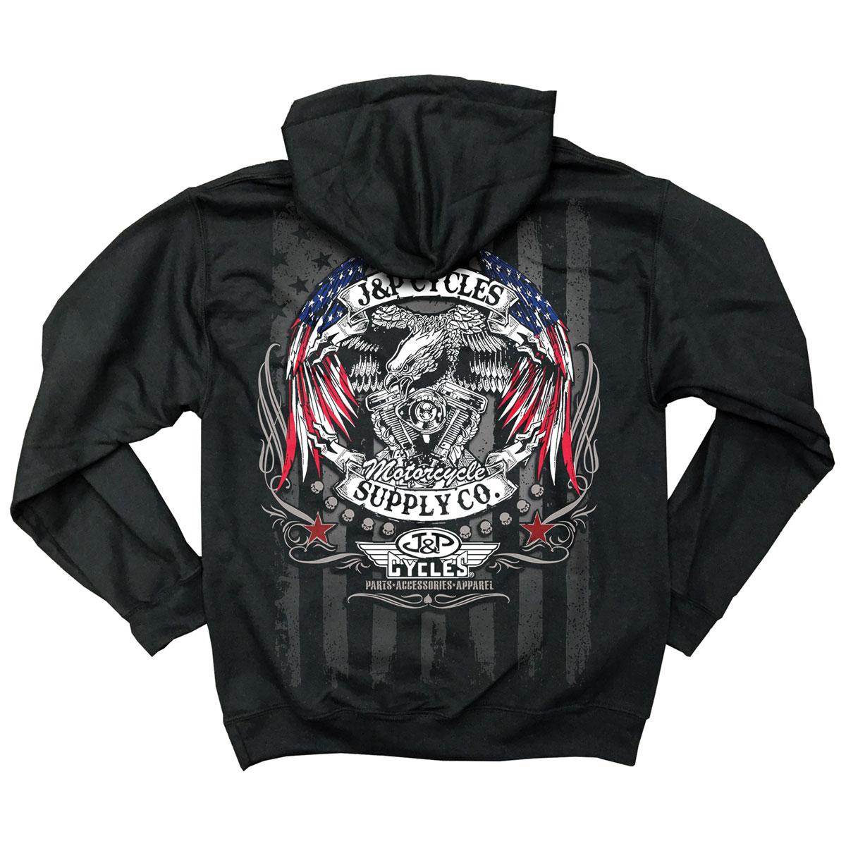 J&P Cycles Men's Eagle Flag Wings Black Hoodie