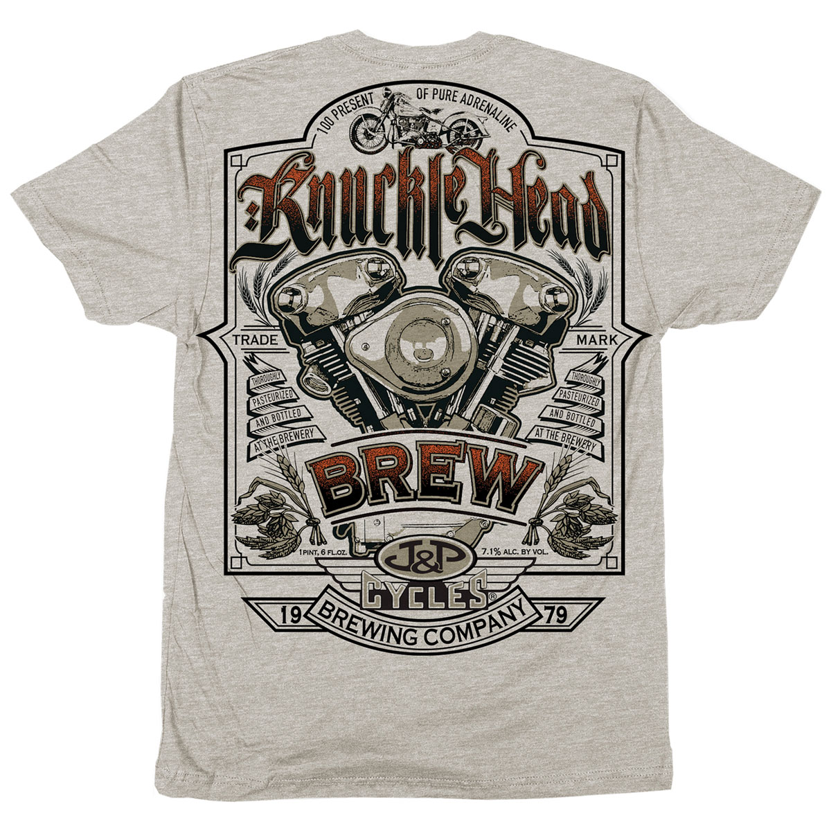 J&P Cycles Men's Knuckle Head Oatmeal Heather T-Shirt