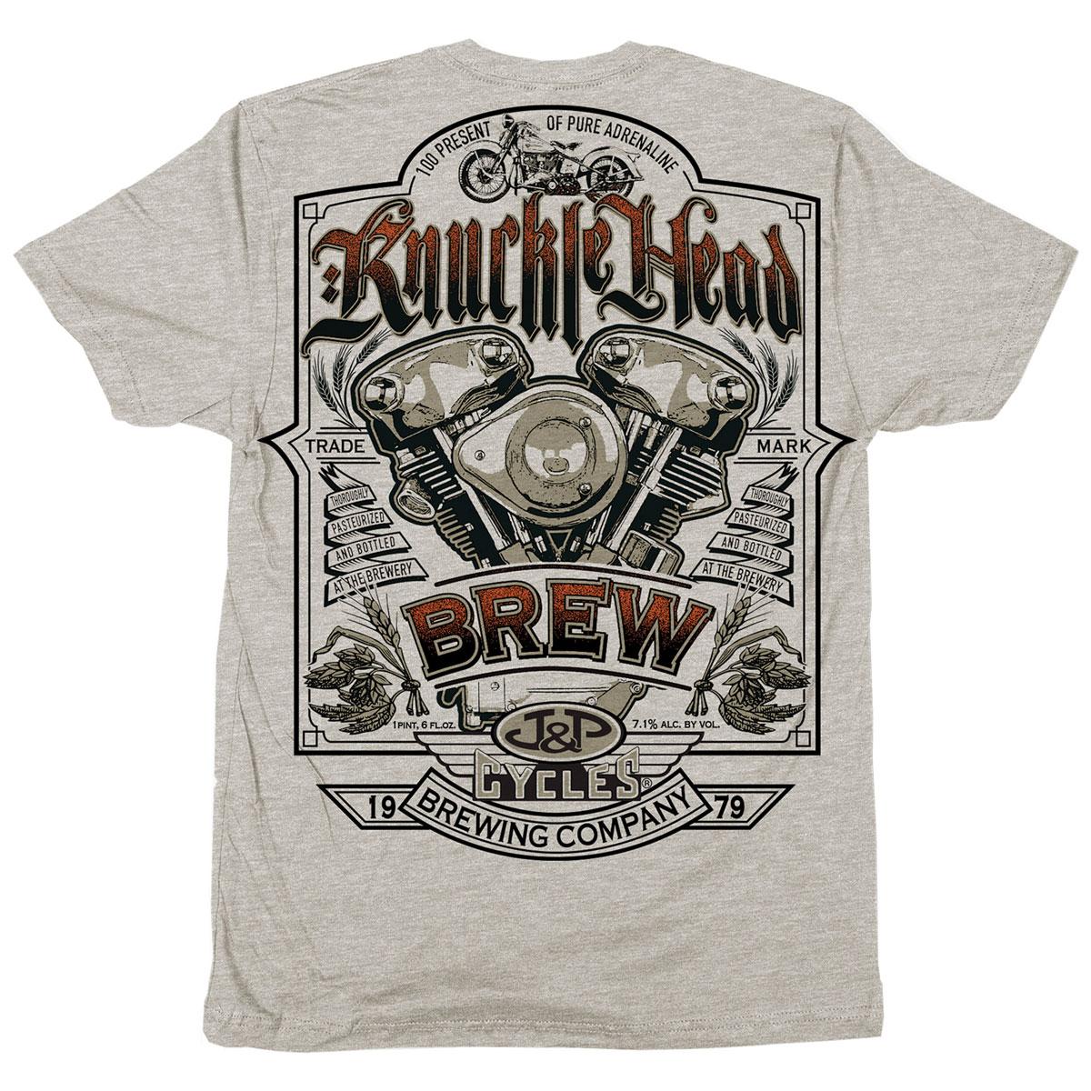 J&P Cycles Men's Knuckle Head Oatmeal Heather T-Shirt