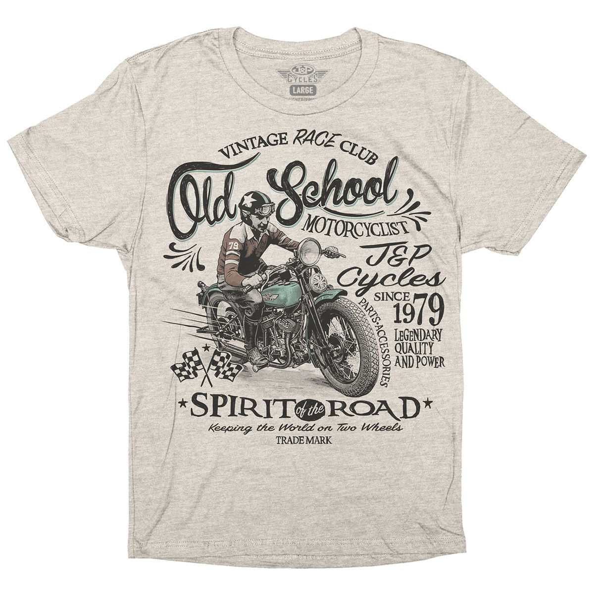 J&P Cycles Men's Old School Oatmeal Heather T-Shirt