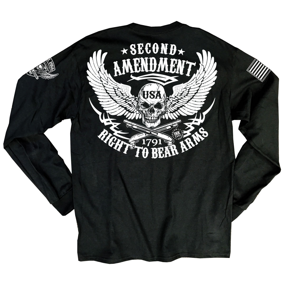Iron Reaper Men's 2nd Amendment Cross Bones Black Long-Sleeve T-Shirt