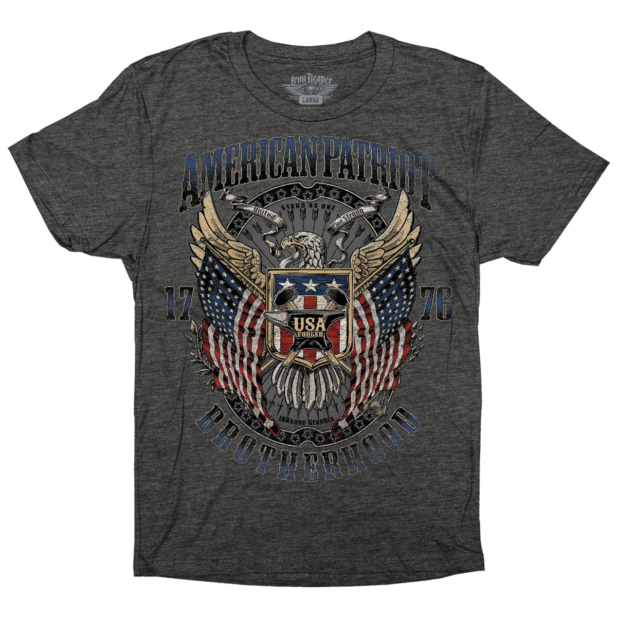 Iron Reaper Men's American Patriot Charcoal Heather T-Shirt