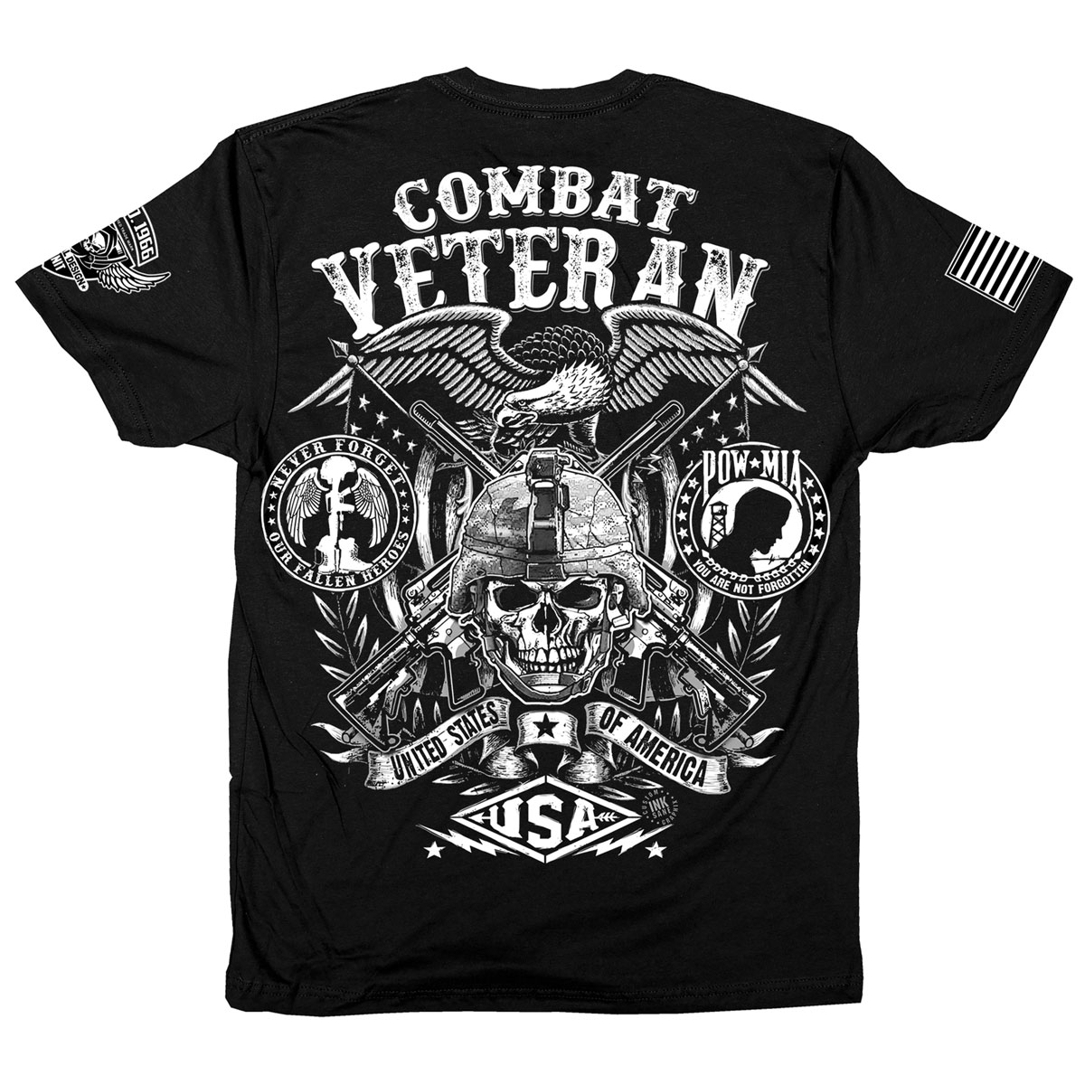 Iron Reaper Men's Combat Veteran Black T-Shirt