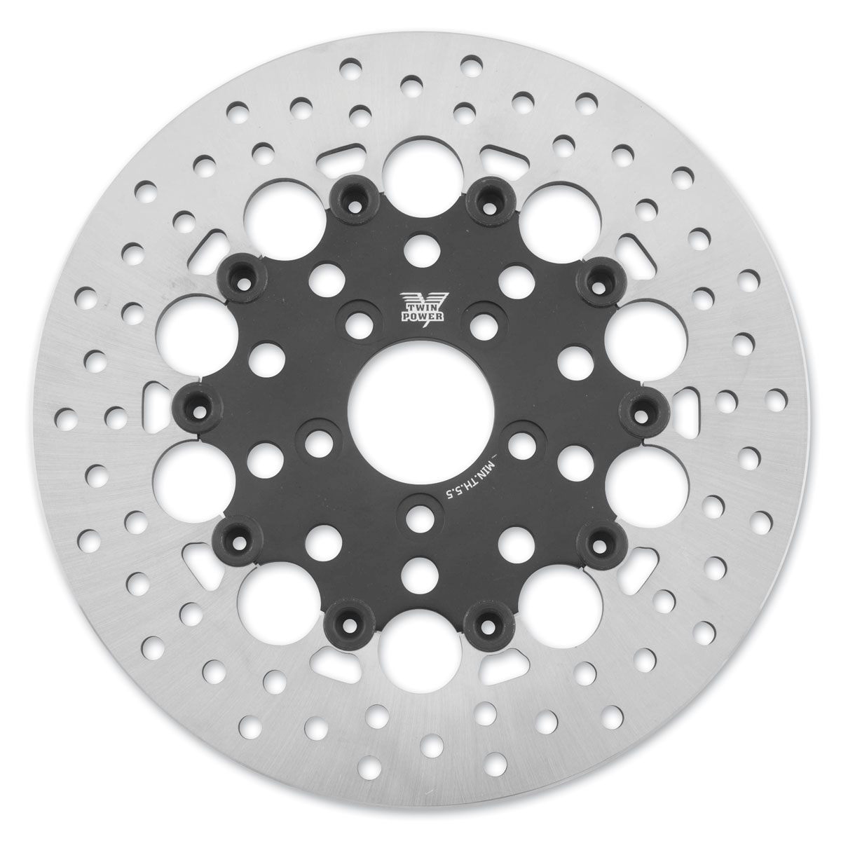 Twin Power Rear Black Floating Round Hole Brake Rotor