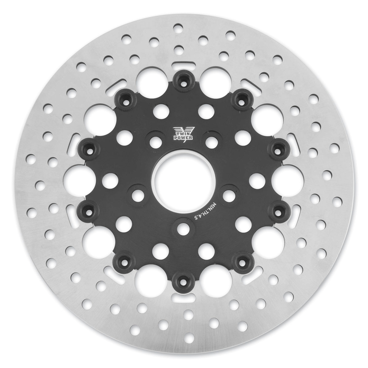Twin Power Rear Black Floating Round Hole Brake Rotor