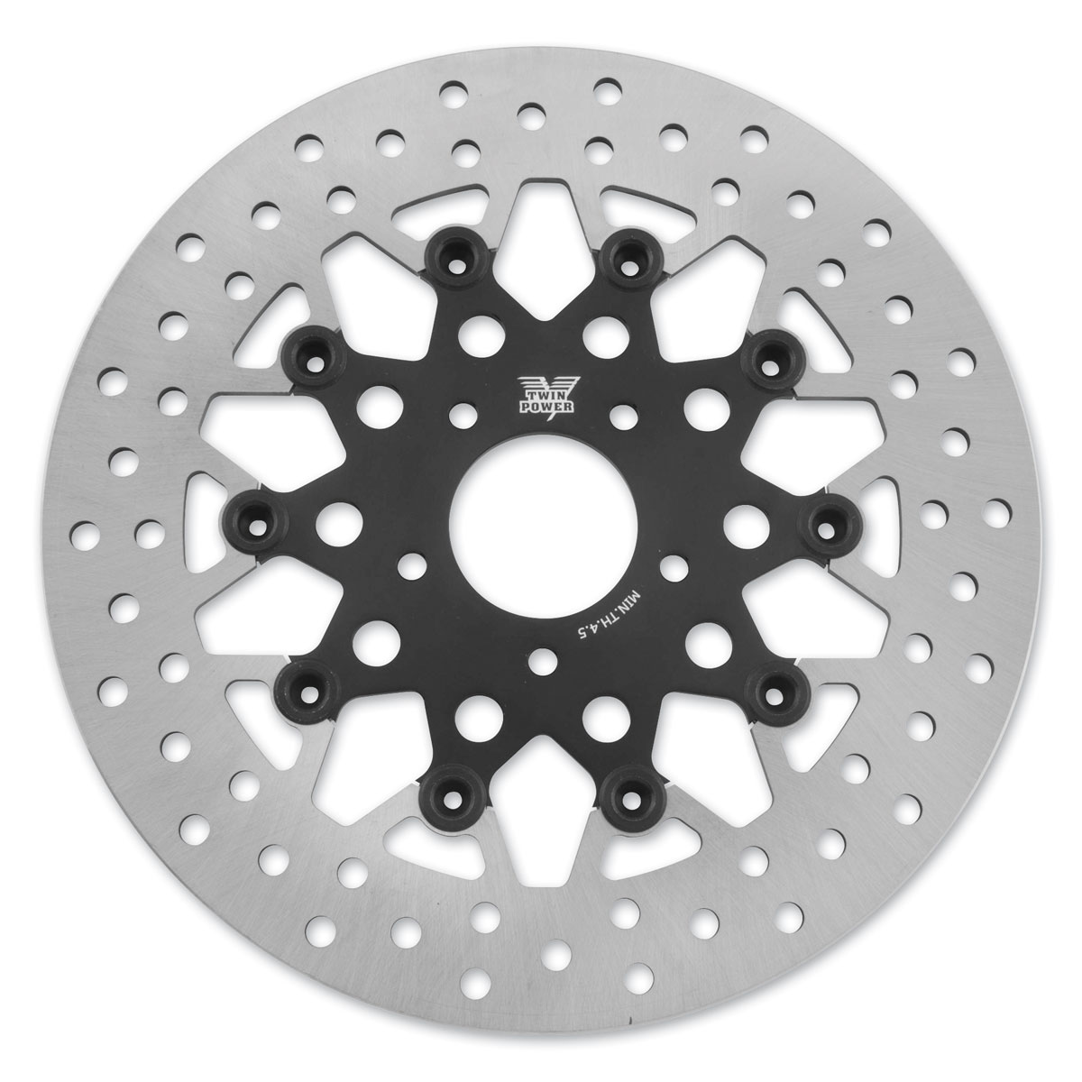 Twin Power Front Black Floating Mesh Style Brake Rotor