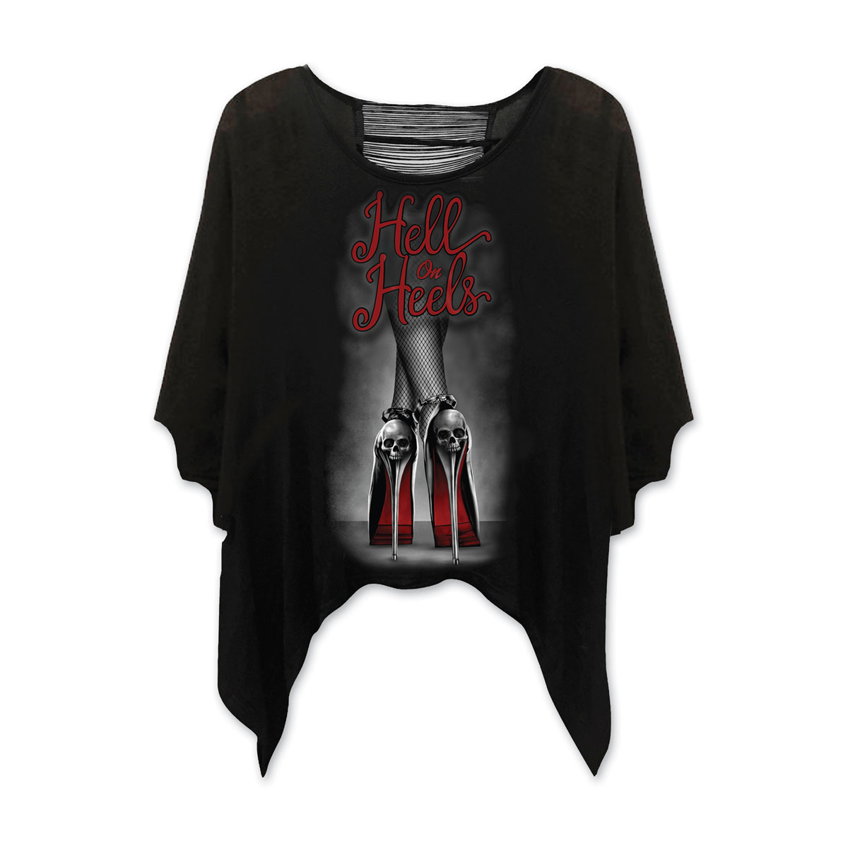 Lethal Angel Women's Hell On Heels Drape Sleeve Black Shirt