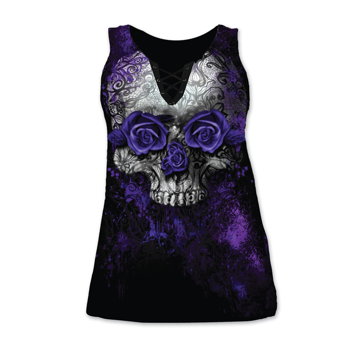 Lethal Angel Women's Purple Rose Skull Curvy Black Tank Top