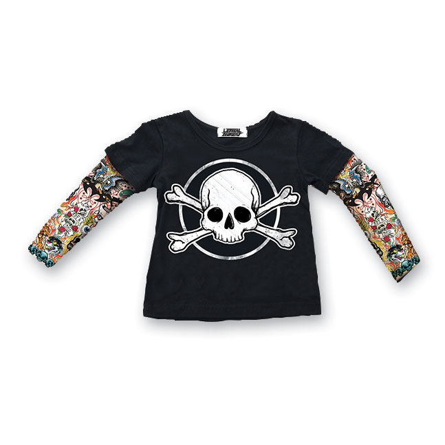 Lethal Threat Toddler Skull & Bones Tattoo Sleeve Black Shirt