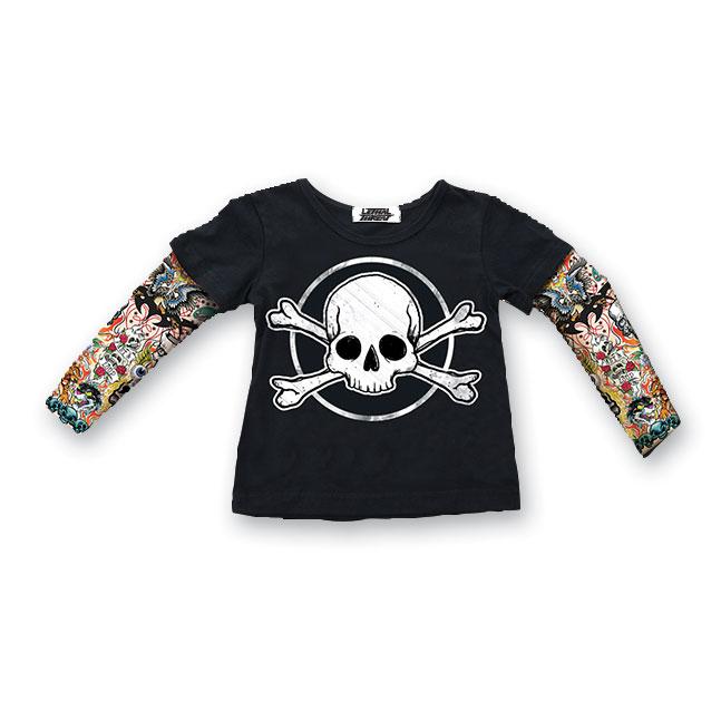 Lethal Threat Toddler Skull & Bones Tattoo Sleeve Black Shirt