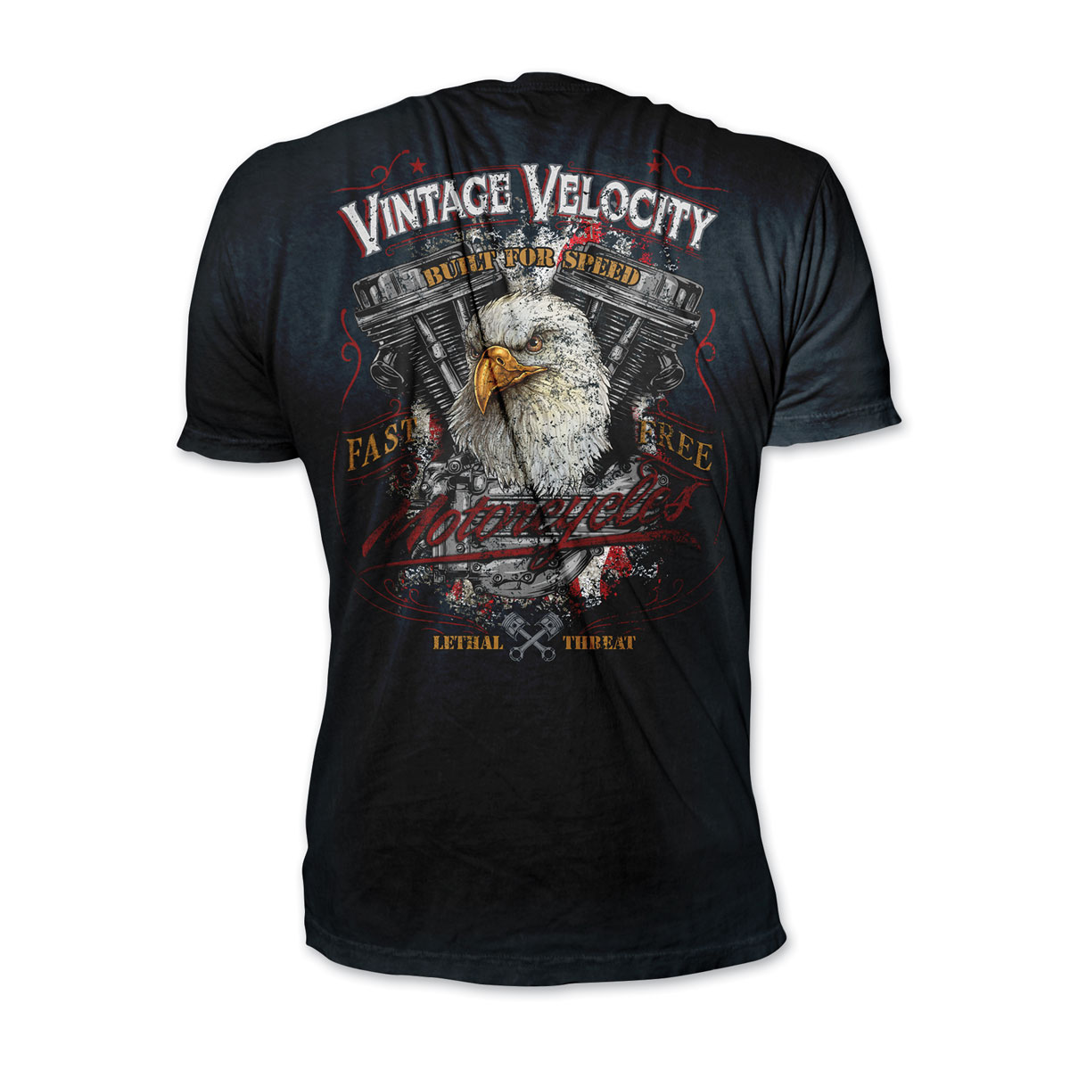Lethal Threat Men's Eagle Motorcycle Black T-Shirt