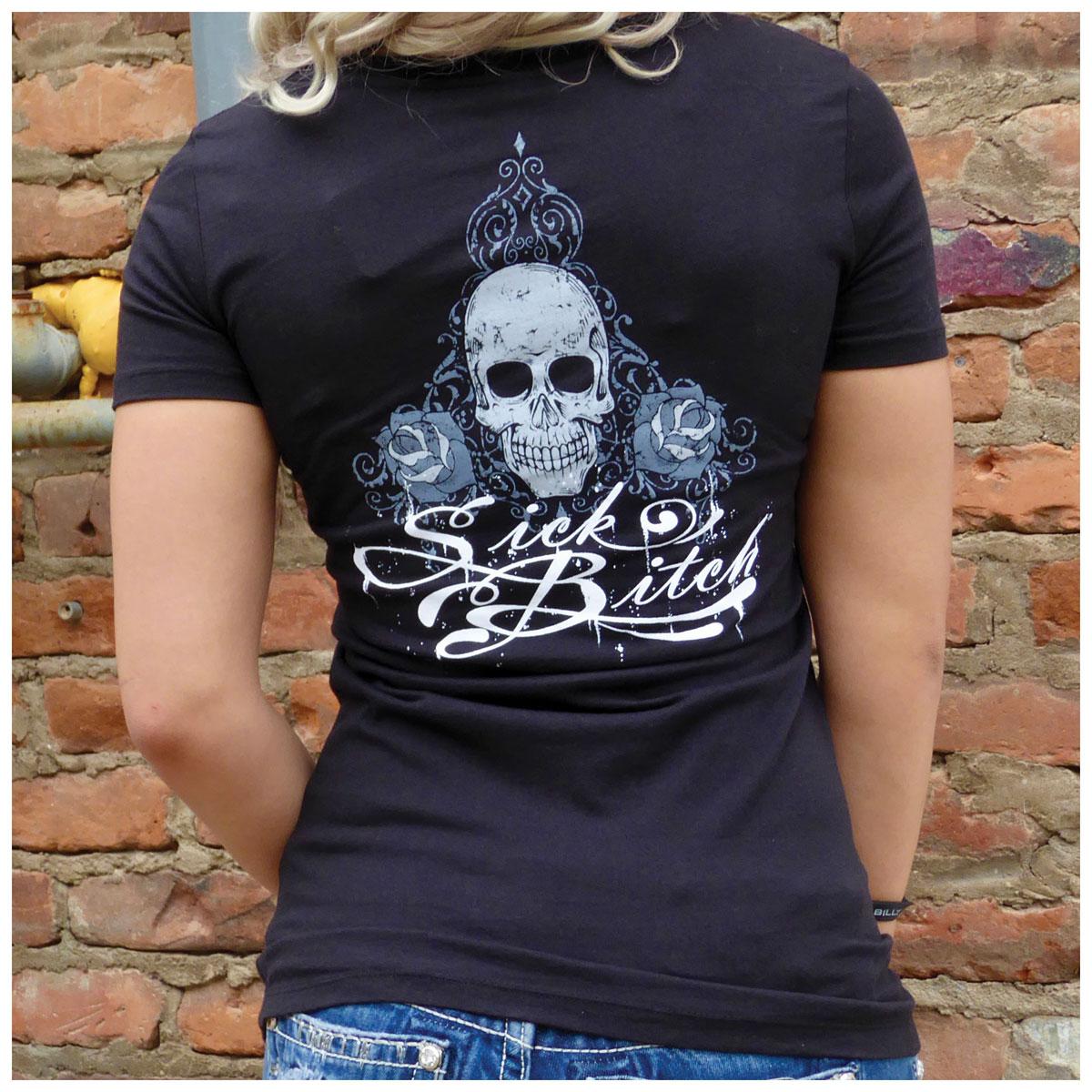 Sick Boy Women's Skull & Rose V-Neck Black T-Shirt