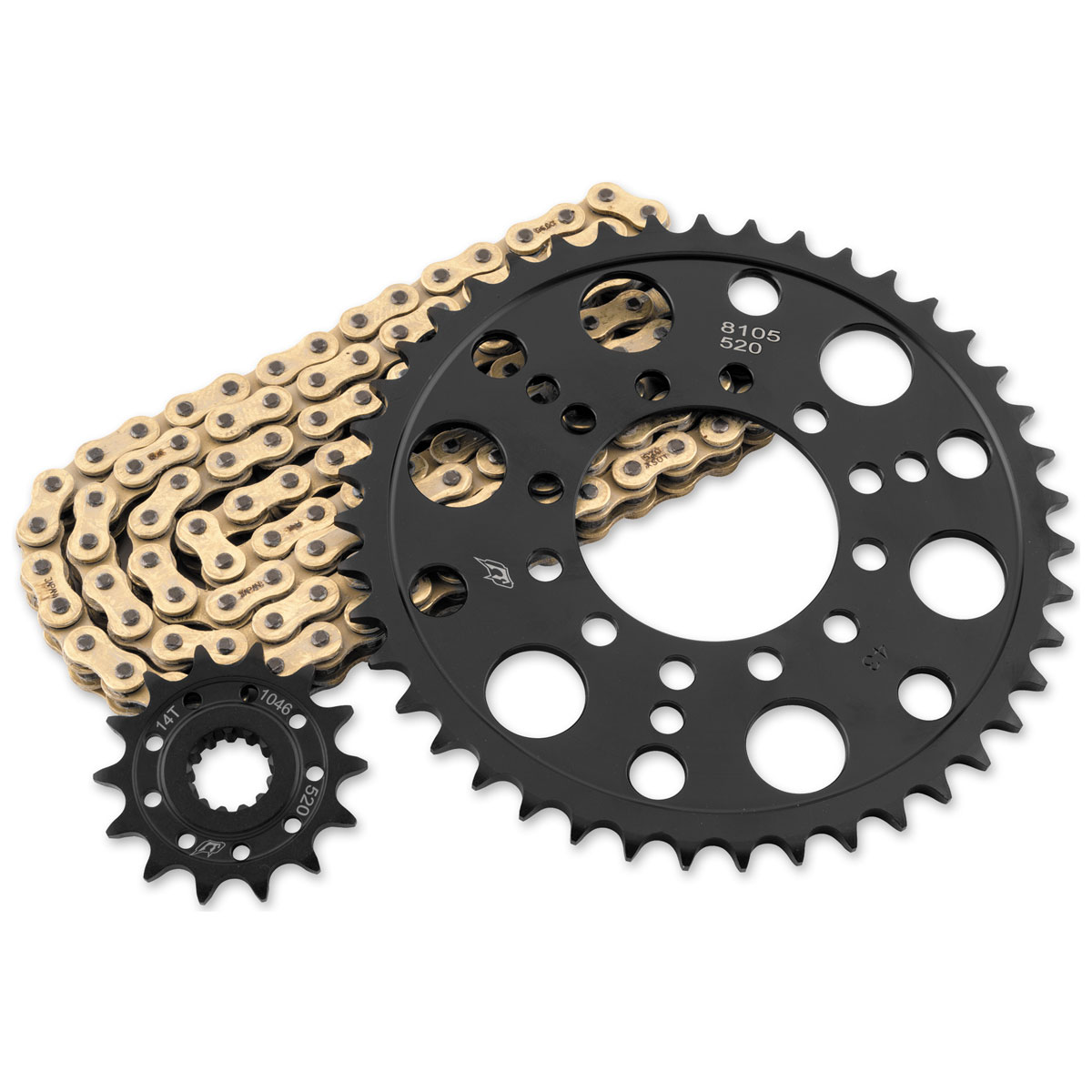 RK Chains 520 Steel Quick Acceleration Gold Chain and Sprocket Kit