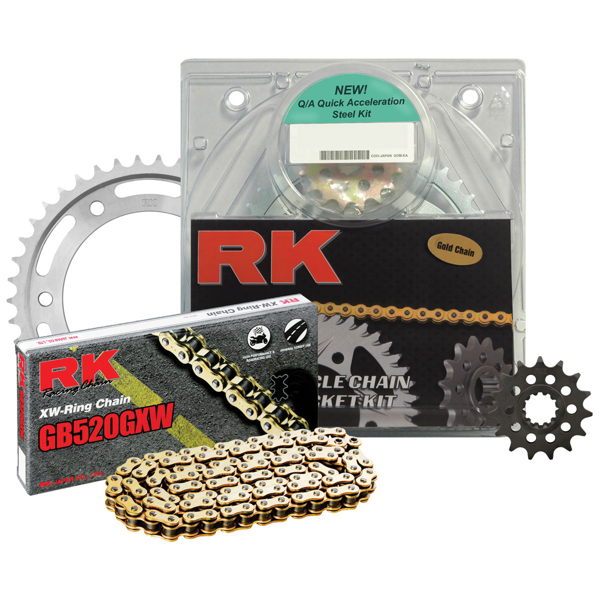 RK Chains 520 Steel Quick Acceleration Chain and Sprocket Kit