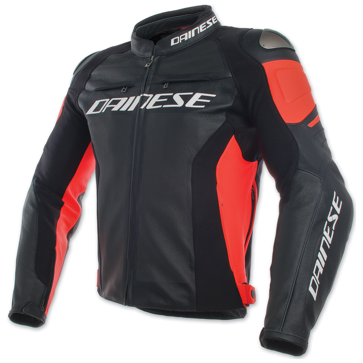 Dainese Men's Racing 3 Perforated Black/Black/Red Leather Jacket