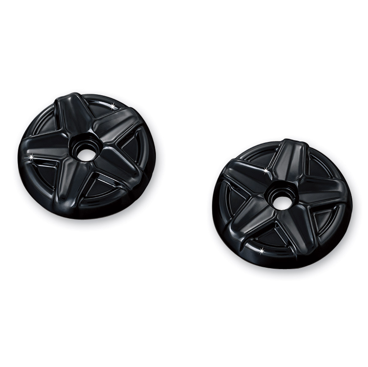 Kuryakyn Gloss Black Five-Spoke End Caps for Kinetic Grips