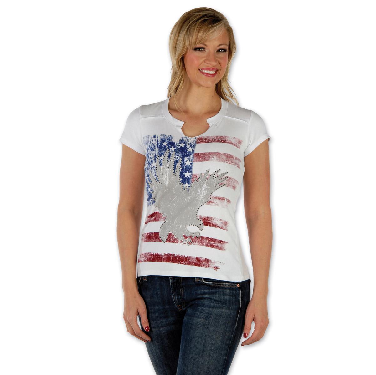 Liberty Wear Eagle Flag Embellished Ladies White T-shirt
