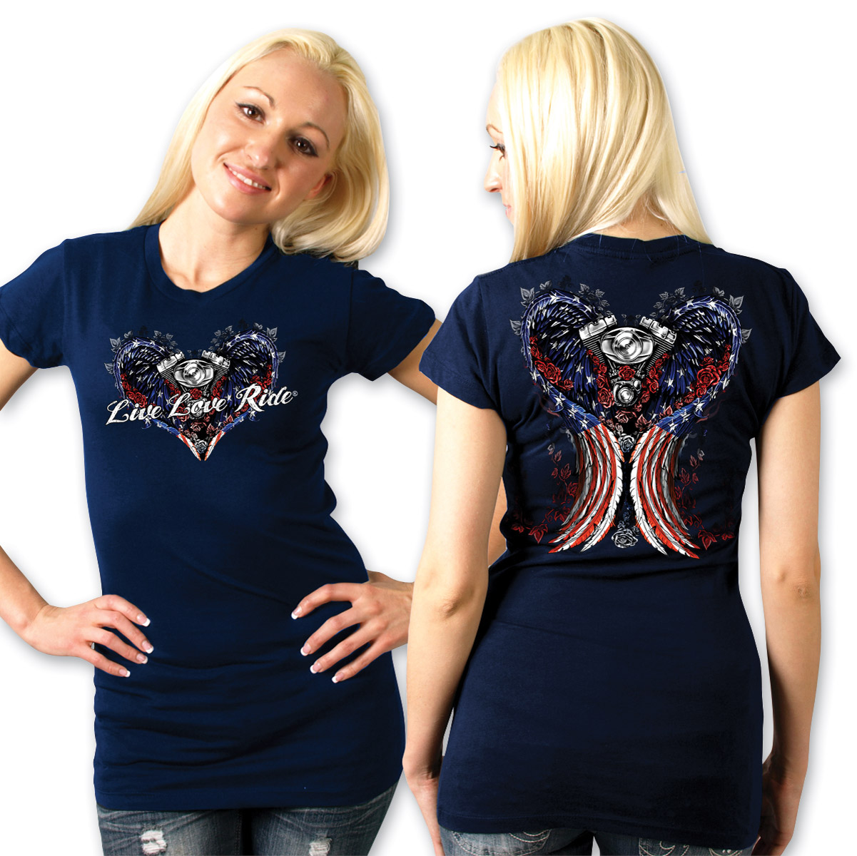 Hot Leathers Live Love Ride Ladies Navy T-shirt